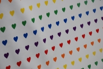 A gathering of rainbow coloured hearts