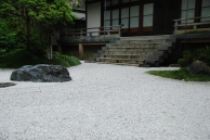 A Zen Garden leading up to the temple steps to the Hojo at Hokokuji, Kamakura